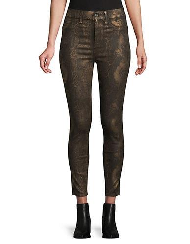 7 For All Mankind Women's High-Waisted Ankle Snakeskin-Print Skinny Jeans - Black Marble/Foil - Size 26