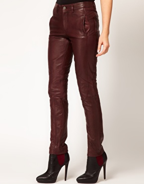 Asos skinny leather trousers with biker detail at asos