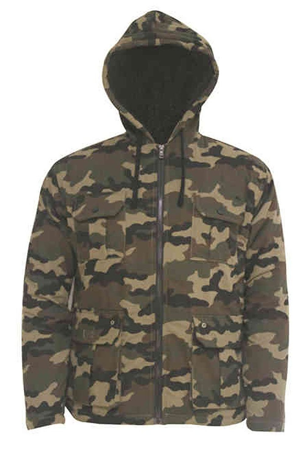 Simplicity men's long sleeve camouflage jacket with pockets, hood, zip up at amazon men's clothing store: