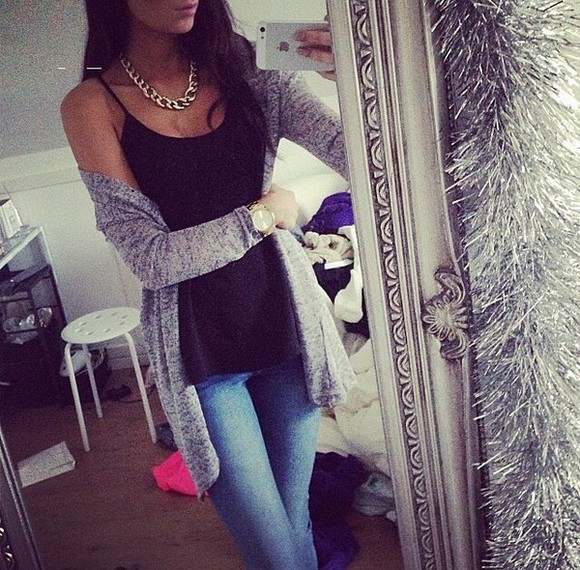 casual jeans top tank top denim watch gold jewels necklace cardigan grey black black top black tank top gold necklace