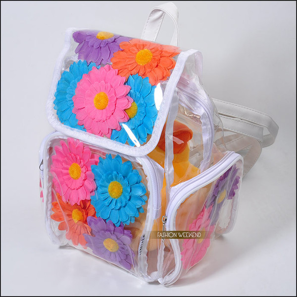 bag harajuku bag transparent bag flower backpack