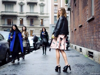 dress floral pink shoes fashion week 2014 streetstyle