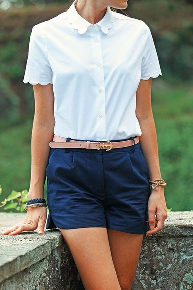 shirt scalloped cute blouse white collar buttons