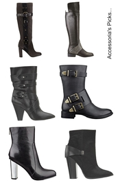 shoes,boots,booties,edgy,black,motorcycle,punk,punky,harness,knee boots,over the knee boots,buckles,leather,strappy,heels,80s style,chunky heel,metallic,modern,90s style,trendy,slick,hardcore,knee high riding boots,riding boots