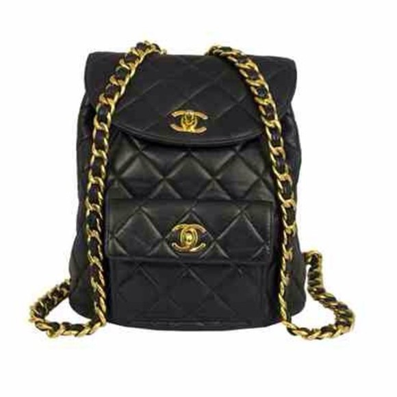 bag backpack black chanel gold leather
