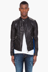 Dsquared2 Studded Leather Biker Jacket for men | SSENSE