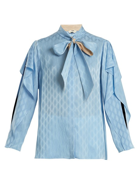 Fendi blouse ruffle silk blue top