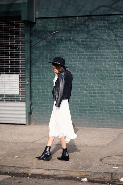 we wore what blogger hat white dress black boots leather jacket