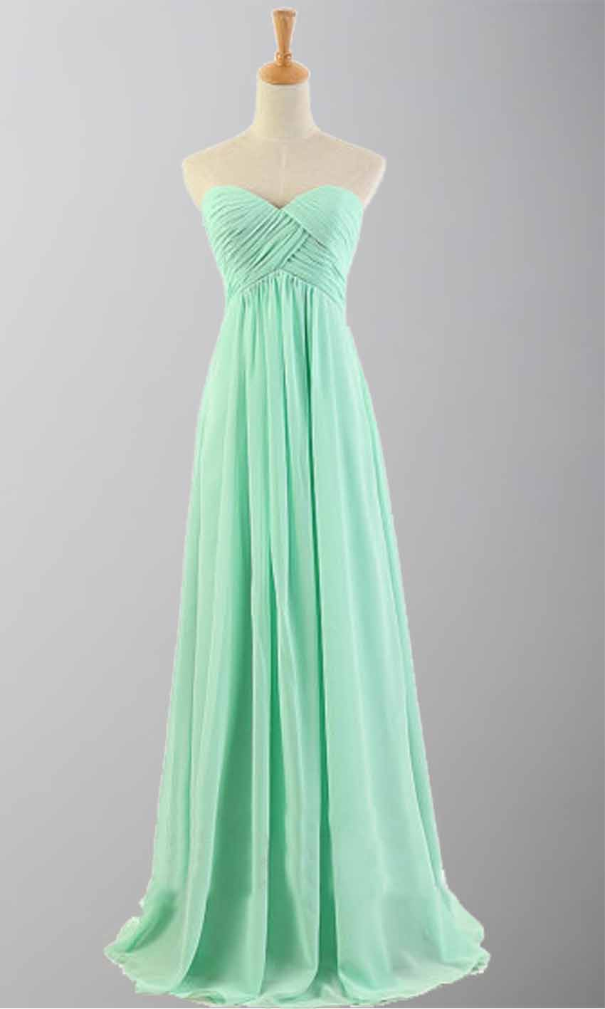 Mint Green Cross Pleated Long Bridesmaid Dresses KSP171 [KSP171 ...