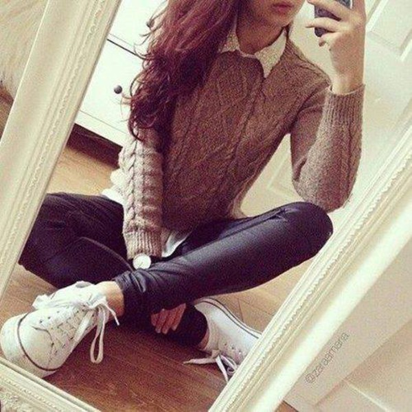 Jeans sweater brown sweater shirt white shirt black jeans converse white converse Fashion style girl tumblr 2015