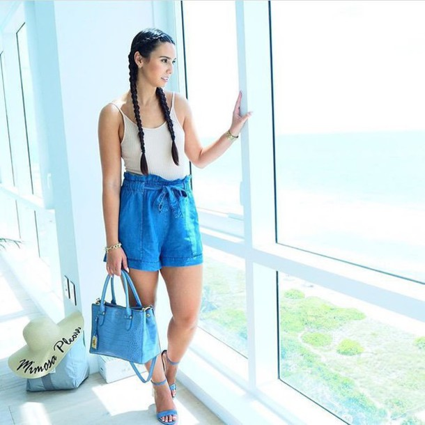 Hat Customized Beach Sun Summer Outfits Shorts Blue High Waisted Top White