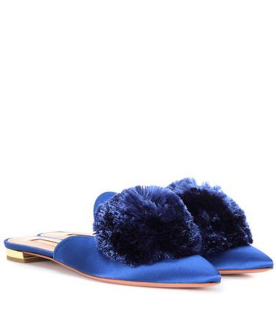 Aquazzura slippers satin blue shoes