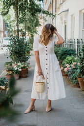 dress,white dress,bag,shoes,buttons dress