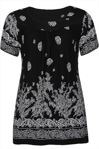 Black and white floral print jersey longline top plus size 16,18,20,22,24,26,28,30,32,34,36