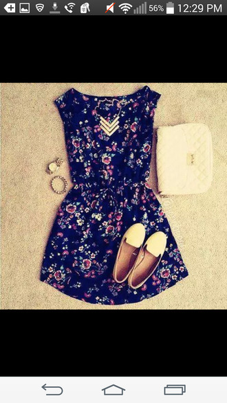 romper necklace shoes purse dress jewels blue blue dress casual casual dress blue dress casual cute floral floral dress floral dress summer summer dress summer outfits summer spring spring dress spring outfits style date outfit date dress college with flowers