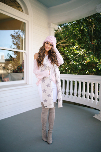 southern curls and pearls blogger sweater scarf hat pants shoes make-up winter outfits beanie boots over the knee boots pink sweater