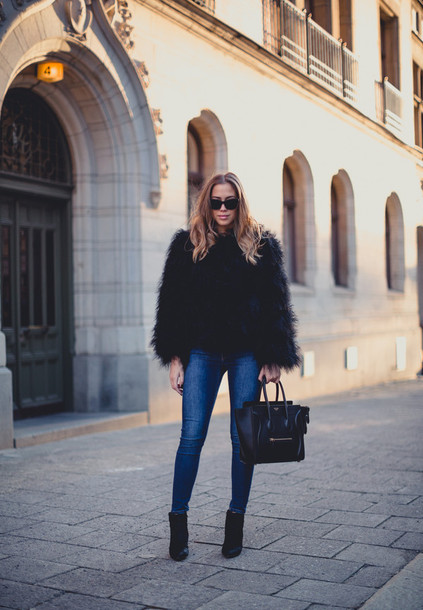 kenza blogger jacket jeans sunglasses celine handbag celine winter jacket fluffy winter outfits black jacket