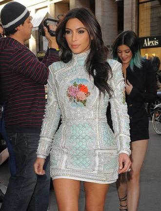 dress kim kardashian dress balmain beaded