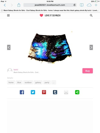 shorts grunge hipster cool galaxy print funny black blue purple metallic ripped