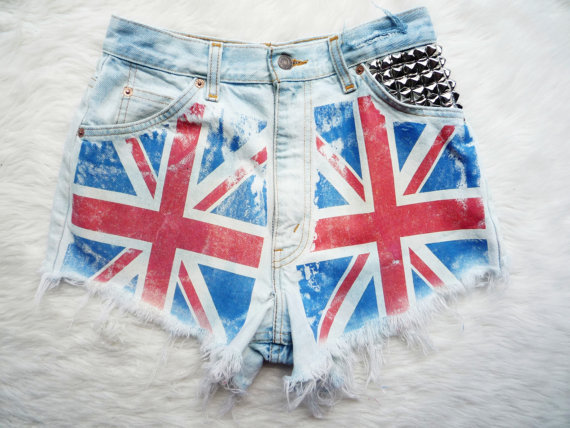 Allyellie's save of union jack flag vintage high waist levis, studded cut off denim shorts