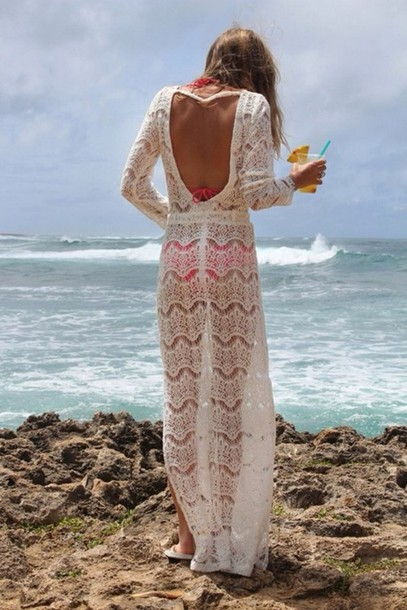 dress swimwear cover up crochet white backless maxi maxi dress summer ...
