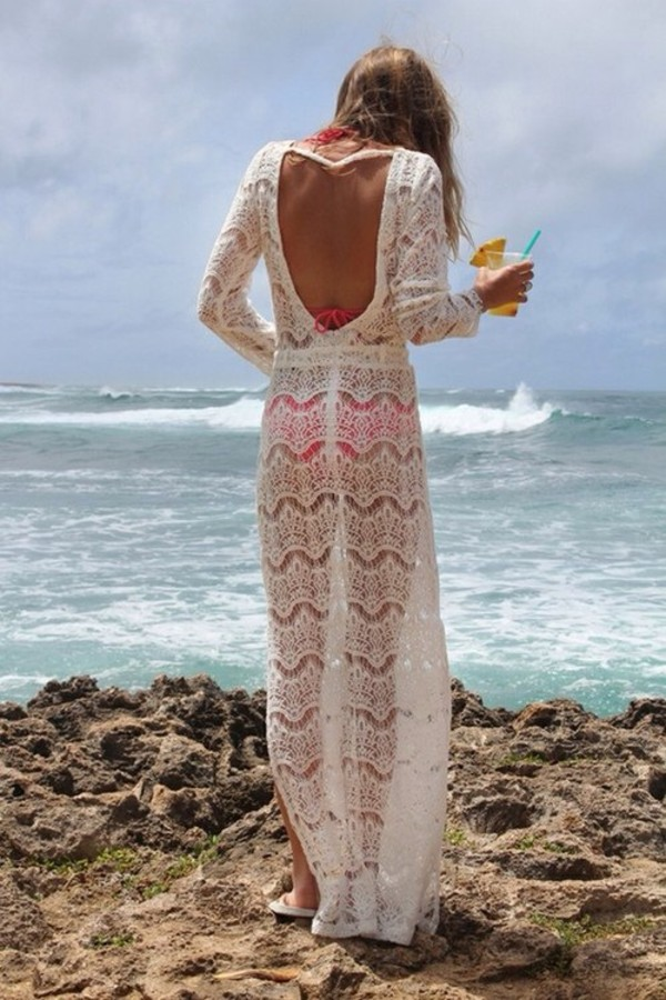 dress swimwear cover up crochet white backless maxi maxi dress summer beach lace