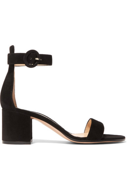 Gianvito Rossi sandals suede black shoes