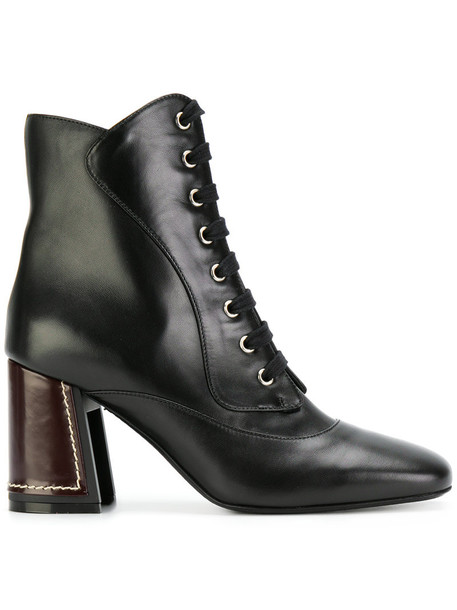 MARNI women ankle boots lace leather black shoes