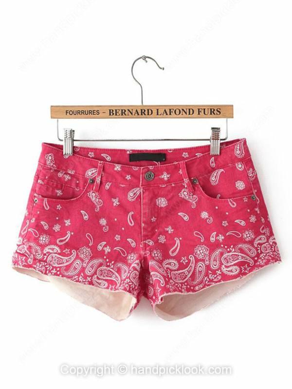 denim red shorts bottom