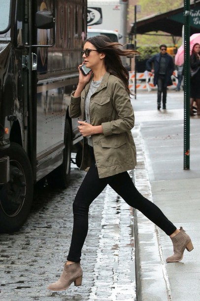 Shoes: nina dobrev, skinny jeans, brown boots, army green jacket ...