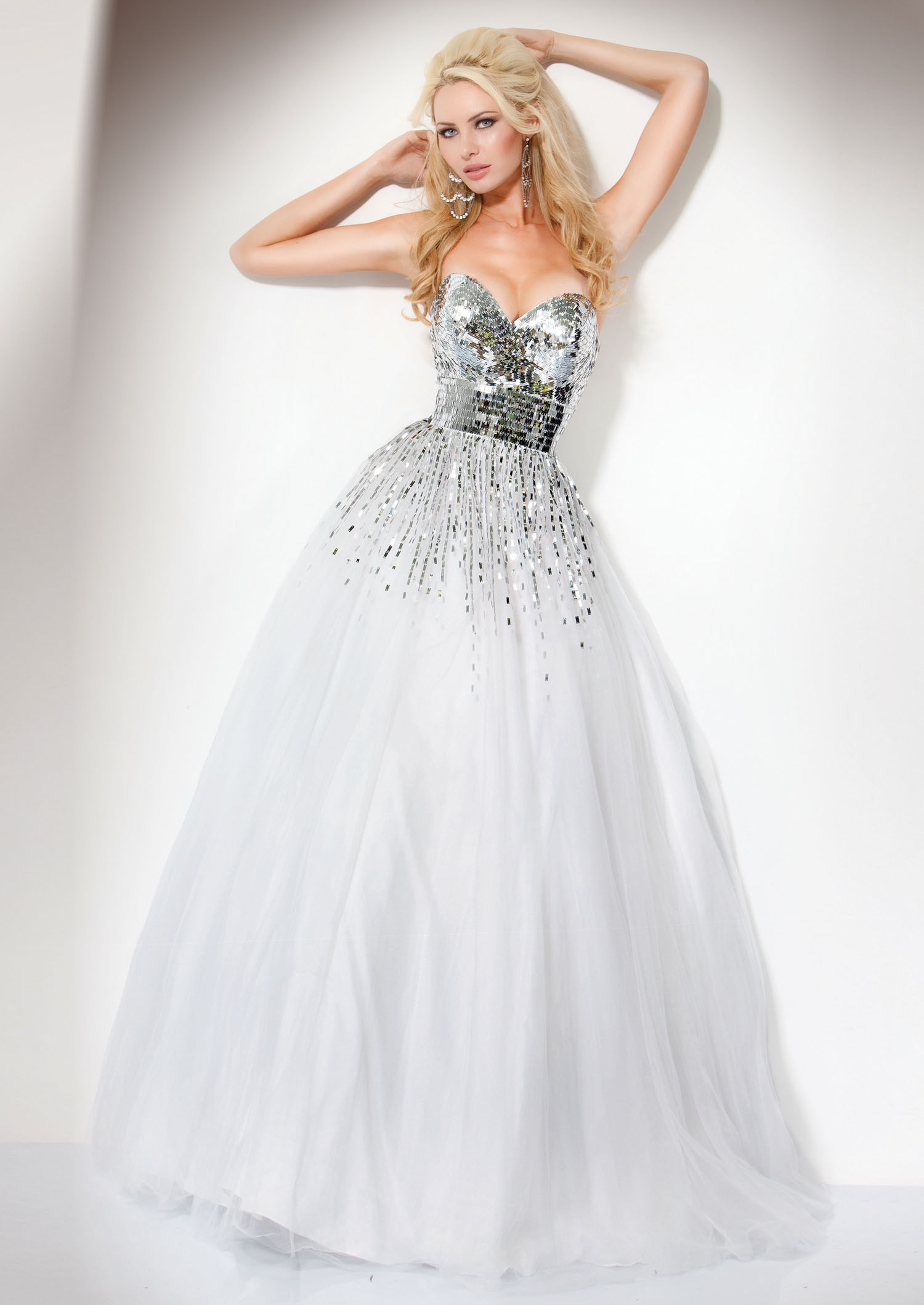 Jovani 159499 - Sequin White Ball Gown - RissyRoos.com