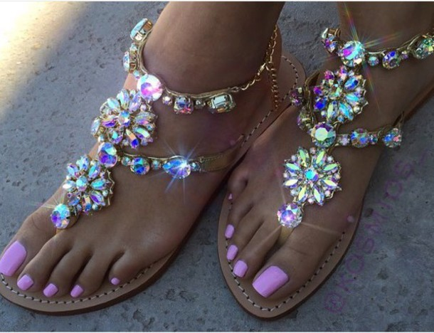 8586d8967 shoes sandals bling cute multicolor jewels colorful flat sandals bag  diamonds pretty summer size9 or 10