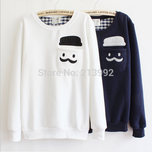 6d3f470835 Winter Warm Fleece Jumper Women Crewneck Sweatshirt With Pockets Women s  Pullover Ladies Cute Mustache Hoodies Sudaderas ...