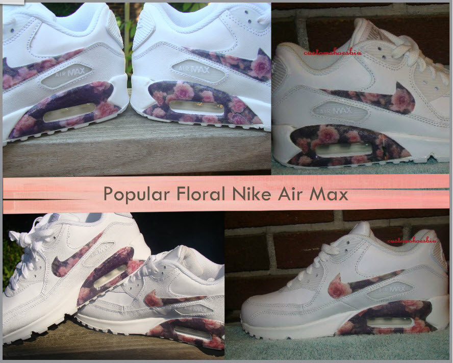 on sale 348df fe96d shoes, nike x b floral air max 90, nike, customised, air max, nike air max  90, white, floral, flowers, trainers, nike shoes - Wheretoget