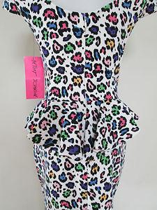 Betsey Johnson White Multi Leopard Print Cap Sleeve Peplum Ruffle Dress 6 | eBay