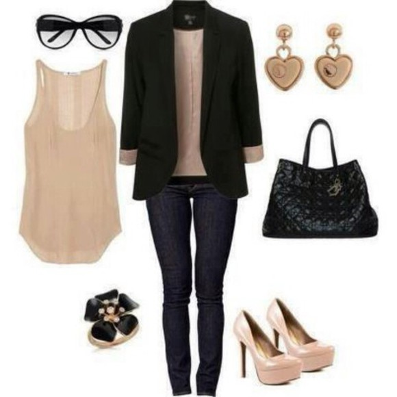 black blazer blazer black coat black oufit