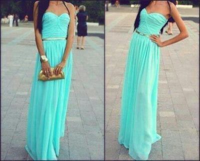 Simple chiffon blue prom dress/bridesmaid dress