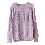 Diamond Plaid Round Neck Pullover With Long Sleeves