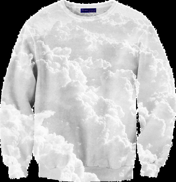 sweater clouds white clouds jumper print sky