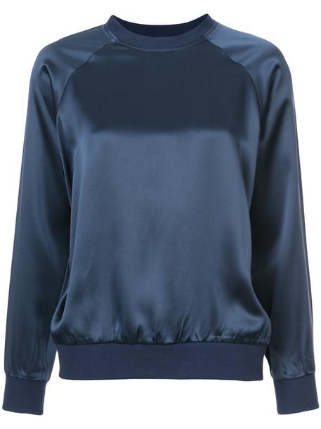 blouse long women blue silk top