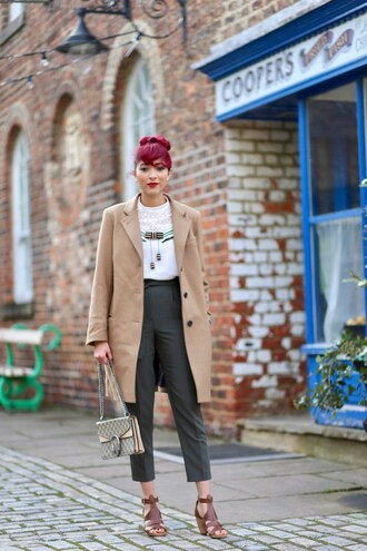 preppy fashionist blogger coat blouse pants bag shoes jewels spring outfits beige coat grey pants gucci bag