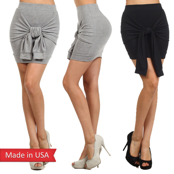 tie skirt front tie high waisted skirt solid color heather grey black mini skirt tube skirt tight sexy bodycon skirt