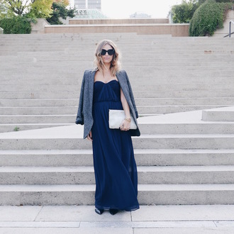 the august diaries blogger navy dress prom dress grey jacket