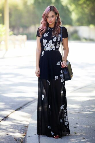 dress sheer floral black white flowers long maxi dress tumblr girly black dress