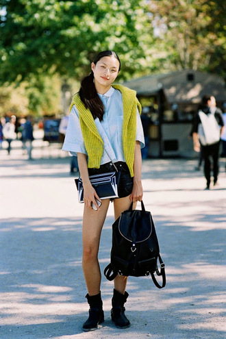 vanessa jackman blogger lime blue shirt knitted sweater leather backpack trendy fashion inspo shirt top shorts jeans sweater bag college