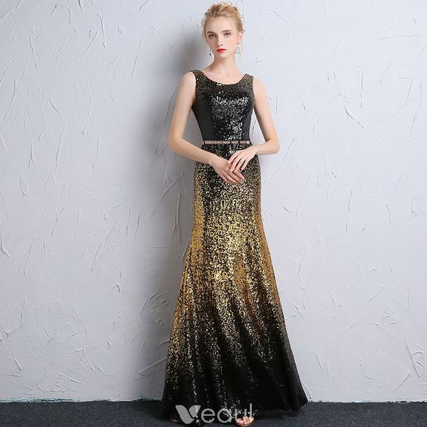 Dress Sparkly Dress Sequin Dress Girl Black And Gold Evening
