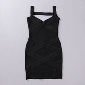 dress,bqueen,black,bandage,sexy,chic,fashion,girl,party,sleeveless,bodycon