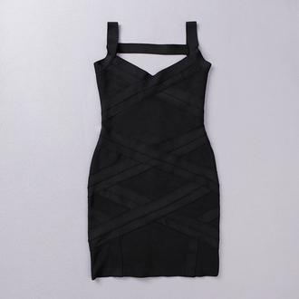 dress bqueen black bandage sexy chic fashion girl party sleeveless bodycon