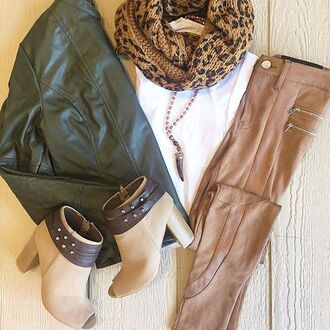 jacket divergence clothing suede suede pants suede leggings leather jacket army green jacket green army jacket green leather jacket open toe ankle boots leopard scarf nude leggings 36683