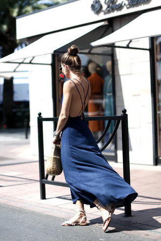 dress tumblr open back backless backless dress maxi dress blue dress bag sandals flat sandals shoes vacation outfits